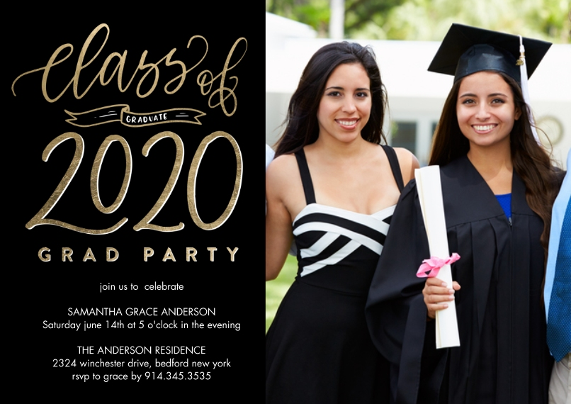 2020 Graduation Invitations 5x7 Cards, Premium Cardstock 120lb with Scalloped Corners, Card & Stationery -Grad Party 2020 Banner by Tumbalina