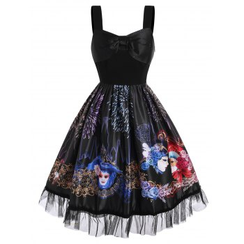 Bowknot Flower Face Fireworks Print Lace Insert Dress