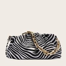 Zebra Pattern Ruched Bag