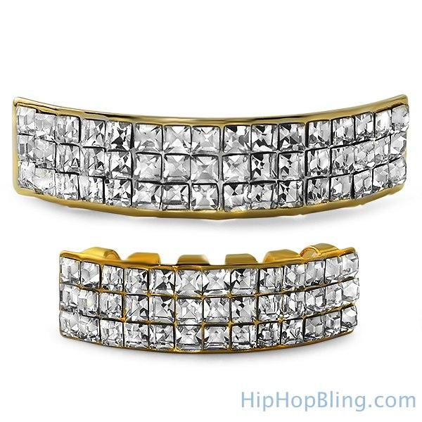 Princess Cut Bling Bling Gold Grillz Set