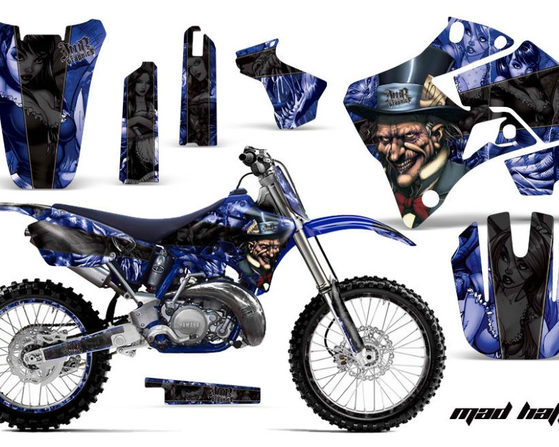 AMR Racing Graphics MX-NP-YAM-YZ125-YZ250-96-01-HAT K U Kit Decal Sticker Wrap + # Plates For Yamaha YZ125 YZ250 1996-2001áHATTER BLACK BLUE