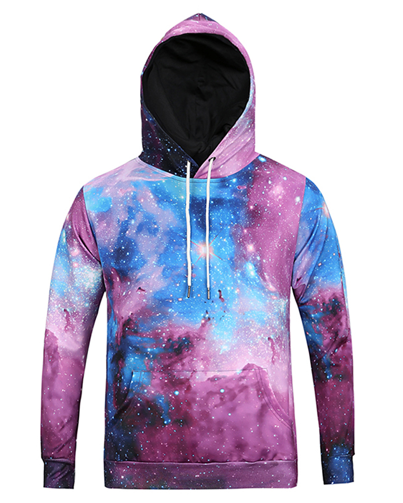 Galaxy Pattern Fastness Lightweight Pullover 3D Painted Hoodie