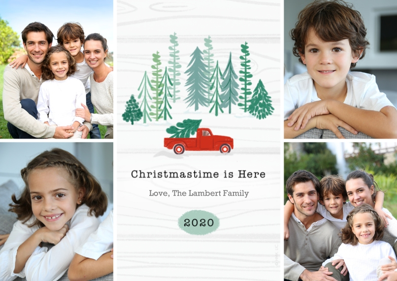 Christmas Photo Cards Flat Glossy Photo Paper Cards with Envelopes, 5x7, Card & Stationery -2020 Red Farm Truck Rustic Photo Collage - Large by Hallma