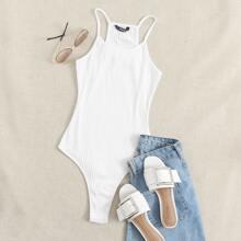White Ribbed Cami Bodysuit