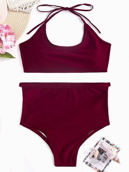 Yoins Cutout Hollow Design Bikini Set in Burgundy
