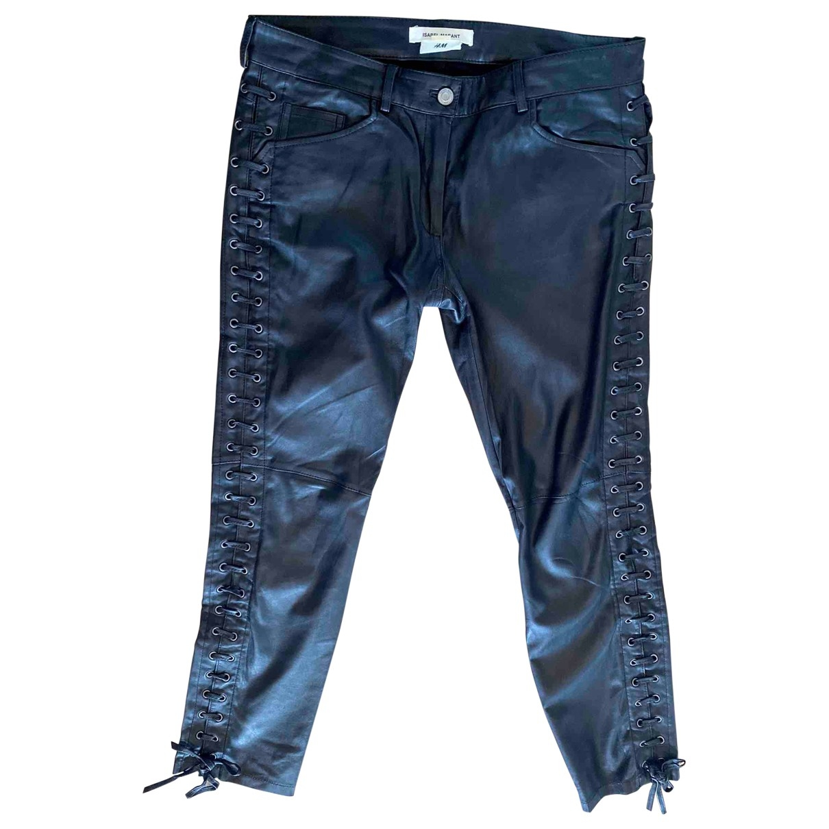 Isabel Marant Pour H&m \N Black Leather Trousers for Women 40 FR