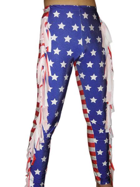 Milanoo Purple And Red Star Lycra Spandex Fabric Unisex Wrestling Pants