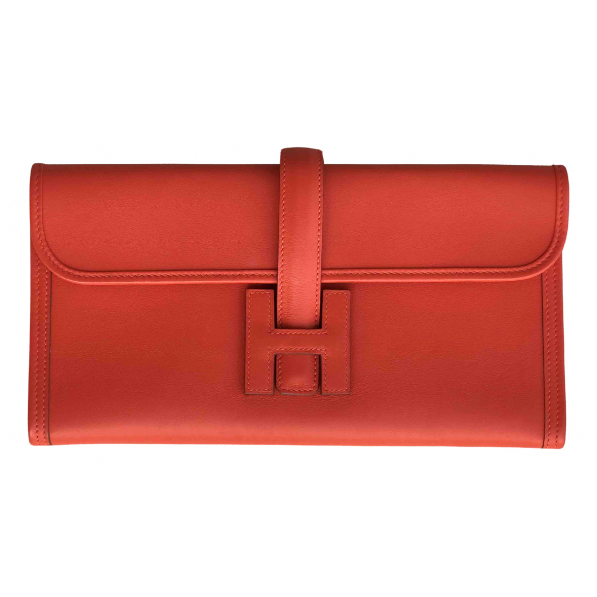 Hermès Jige Orange Leather Clutch bag for Women \N