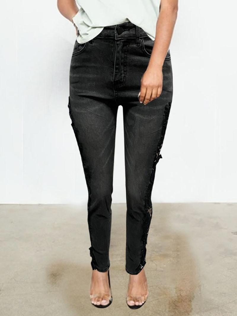 Ericdress Lace Pencil Pants Color Block Zipper Skinny Jeans