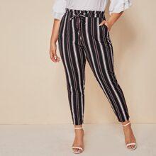 Plus Paperbag Waist Slant Pocket Striped Pants