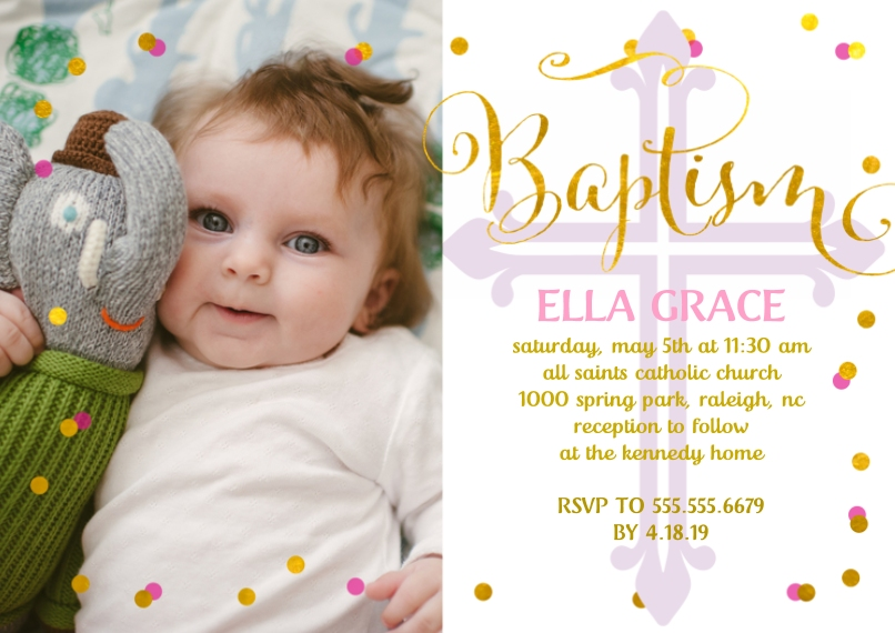 Christening + Baptism 5x7 Cards, Premium Cardstock 120lb with Scalloped Corners, Card & Stationery -Baptism Confetti by Posh Paper