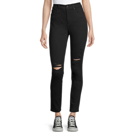 Arizona - Juniors Real Curve Womens High Rise Skinny Fit Jean, 3 , Black