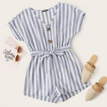 Plus Button Front Batwing Sleeve Striped Romper