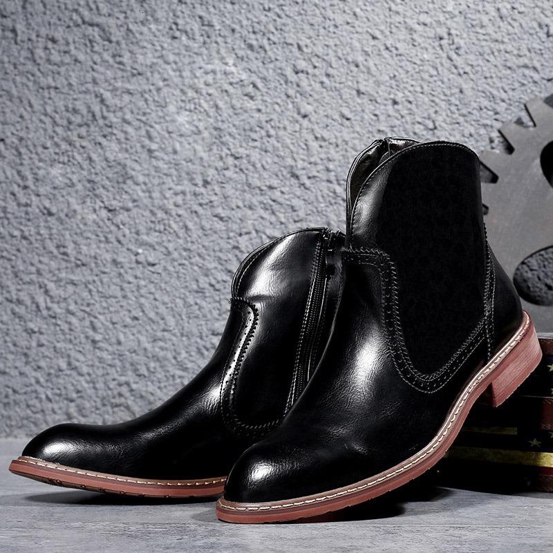 Ericdress PU Side Zipper Round Toe Men's Boots