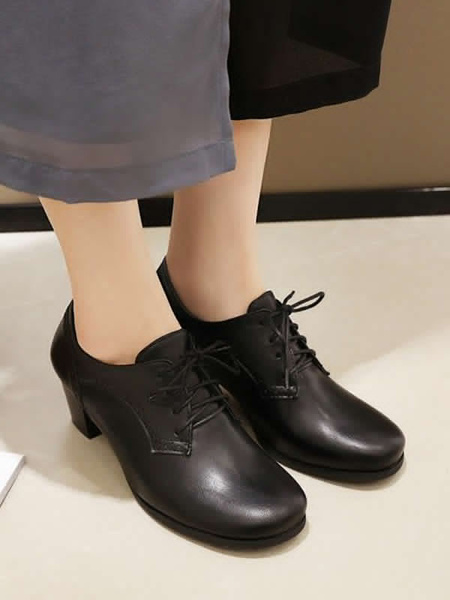 Milanoo Brown Oxfords Women Round Toe Lace Up Block Heel Oxford Shoes