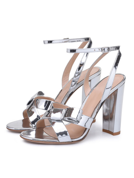 Milanoo High Heel Sandals Womens Silver Patent PU Bow Open Toe Slingback Chunky Heel Sandals