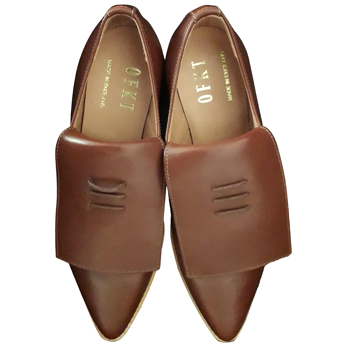 Non Signé / Unsigned \N Brown Leather Flats for Women 5 UK