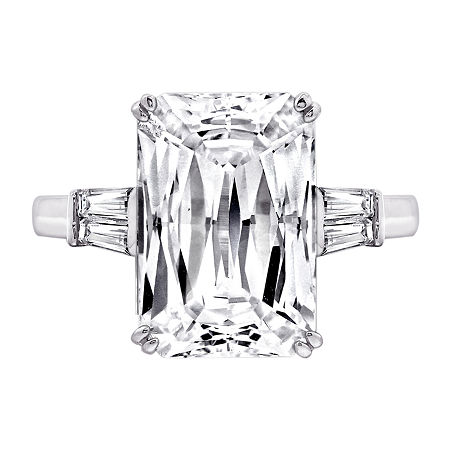 DiamonArt Womens White Cubic Zirconia Sterling Silver Rectangular Engagement Ring, 5 , No Color Family