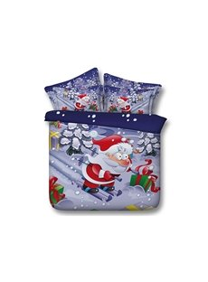 Christmas Santa Claus on Skis Printed Cotton 3D 4-Piece Bedding Sets/Duvet Covers