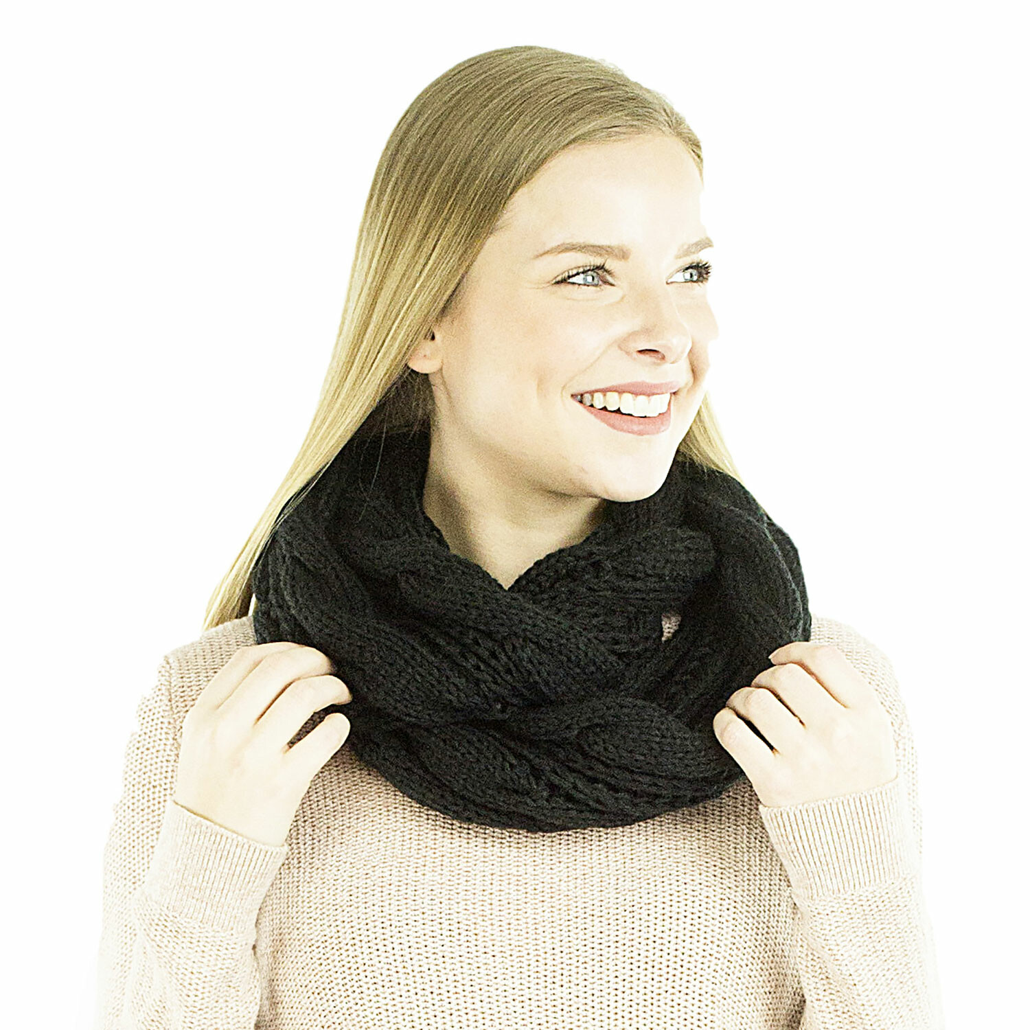 Exotic Identity Infinity Scarf Cable Knit Aspen Infinity Cold Weather Wear for Women - M - Black