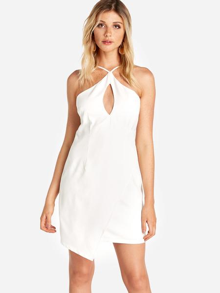 Yoins White Adjustable Shoulder Straps Halter Cut Out Front Irregular Hem Dress