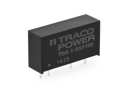 TRACOPOWER TBA 1HI 1W Isolated DC-DC Converter Through Hole, Voltage in 10.8 → 13.2 V dc, Voltage out ±12V dc