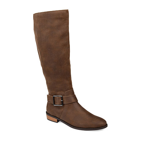 Journee Collection Womens Winona Stacked Heel Riding Boots, 5 1/2 Medium, Brown