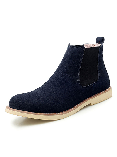 Milanoo Boots For Men Suede Leather Round Toe Black Ankle Boots Chelsea Boots