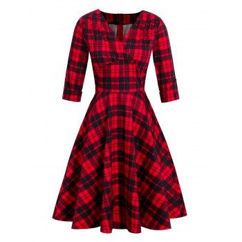Plaid Plunging Empire Waist Vintage Dress