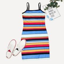 Colorful Striped Slip Dress