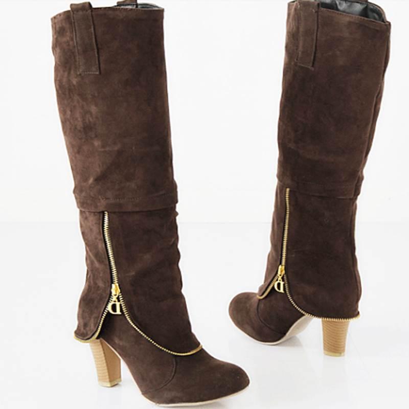 Korean Comfortable Side Zipper Knee High Boots