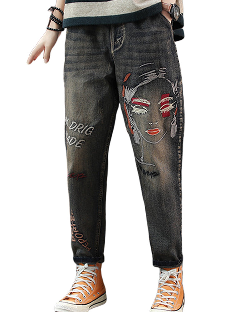 Vintage Embroidery Letters Lovely Cartoon Loose Women Jeans