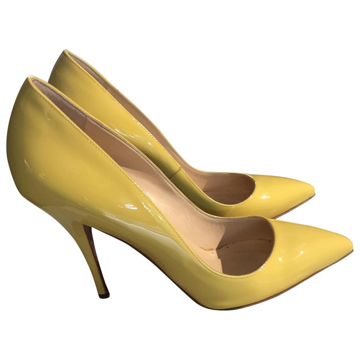 Christian Louboutin \N Yellow Patent leather Heels for Women 37.5 EU