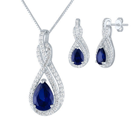 Lab Created Blue Sapphire Sterling Silver Jewelry Set, One Size , No Color Family