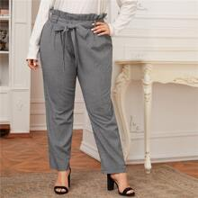 Plus Paperbag Waist Belted Gingham Pants