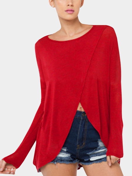 Yoins Red Comfy Cross Front Round Neck Top