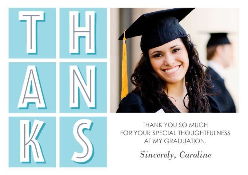 Graduation Thank You Cards Flat Glossy Photo Paper Cards with Envelopes, 5x7, Card & Stationery -Modern Thanks Grid