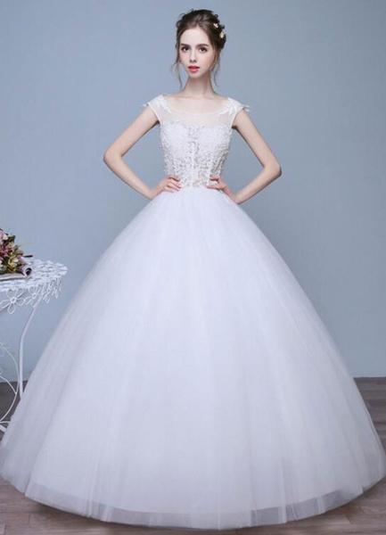 Milanoo Ivory Wedding Dresses A-Line Lace Applique Round Neck Keyhole Floor Length Bridal Dresses
