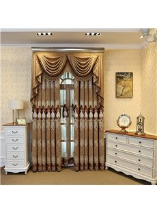 Classic European Embroidered Style Decorative 2 Panels Golden Blackout Grommet Curtains
