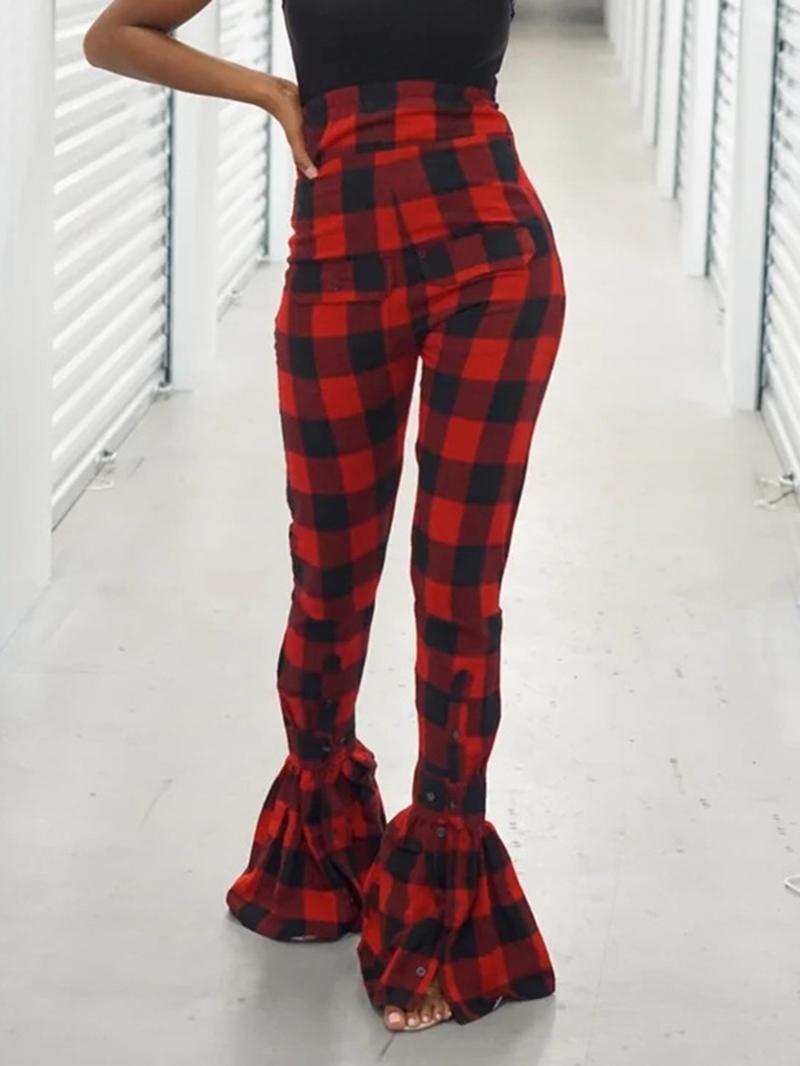 Ericdress Plaid Slim High Waist Full Length Casual Pants