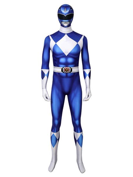 Milanoo Mighty Morphin Power Rangers Blue Ranger Zentai Jumpsuit Cosplay Costume