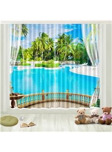 3D Tropical Travel Seaside Beach Room Darkening Curtains 2 Panel Set 87 Inches Wide and 84 Inches Physically Blocks Light Nicely Prevents UV Ray Provi