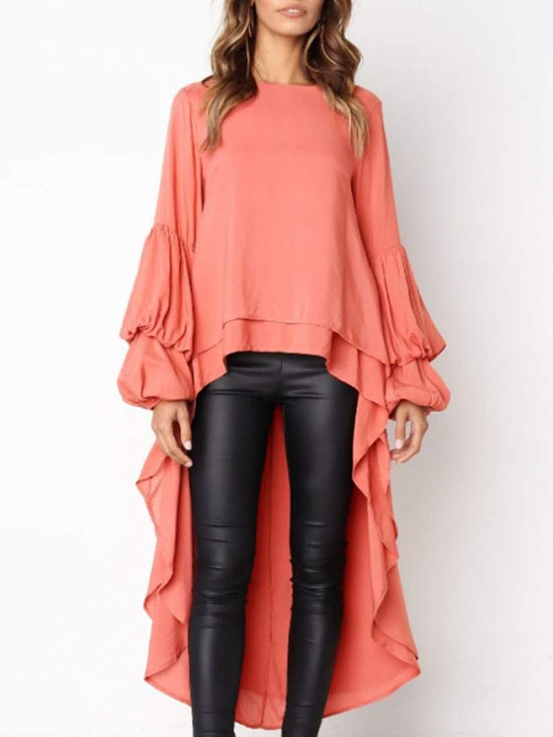 Ericdress Plain Lantern Sleeve Loose Long Blouse