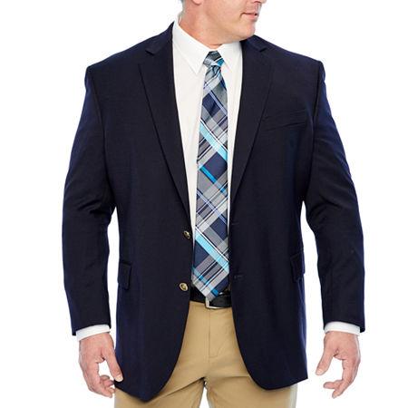 Stafford Mens Hopsack Classic Fit Blazer - Big and Tall, 60 Big Long, Blue