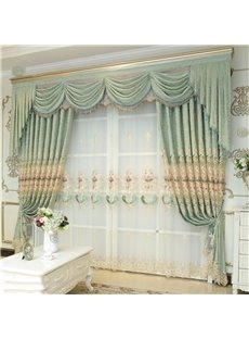 Noble and Elegant European Style Light Green 2 Panels Decorative Living Room Sheer Curtain