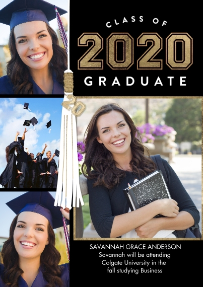 2020 Graduation Announcements Flat Glossy Photo Paper Cards with Envelopes, 5x7, Card & Stationery -2020 Graduate Tassel by Tumbalina