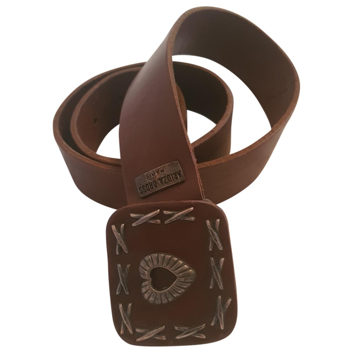 Aridza Bross \N Brown Leather belt for Women 80 cm