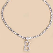 Rhinestone & Letter Decor Necklace