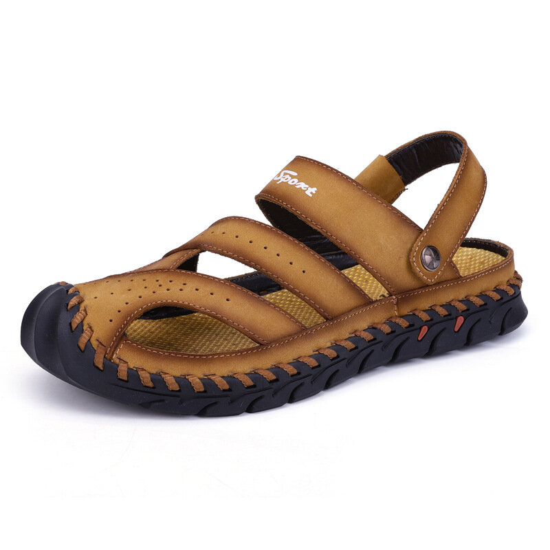 Men Hand Stitching Non Slip Anti-collision Casual Leather Sandals