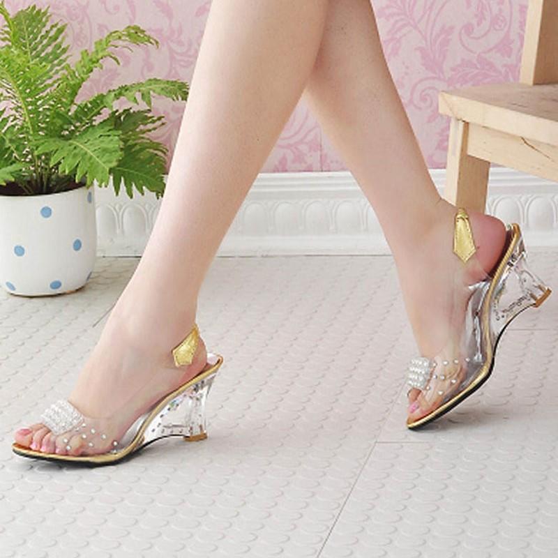 Ericdress Transparent Patchwork Slip-On PVC Wedge Sandals